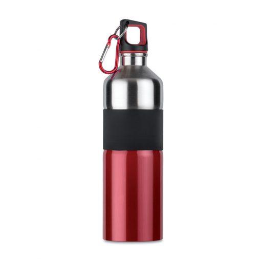 Червена Метална бутилка с карабинер TENERE 750 ml