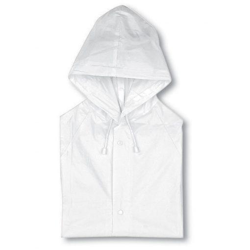 Прозрачно Бял Дъждобран с качулка BLADO