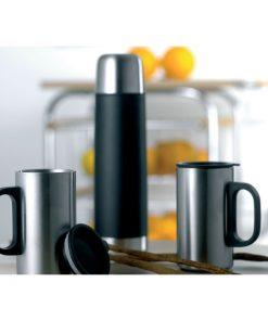 Черен Термос от неръждаема стомана + две чаши