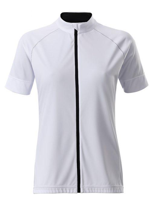 Дамска тениска за колоездене с цип - цвят Бял/Черен