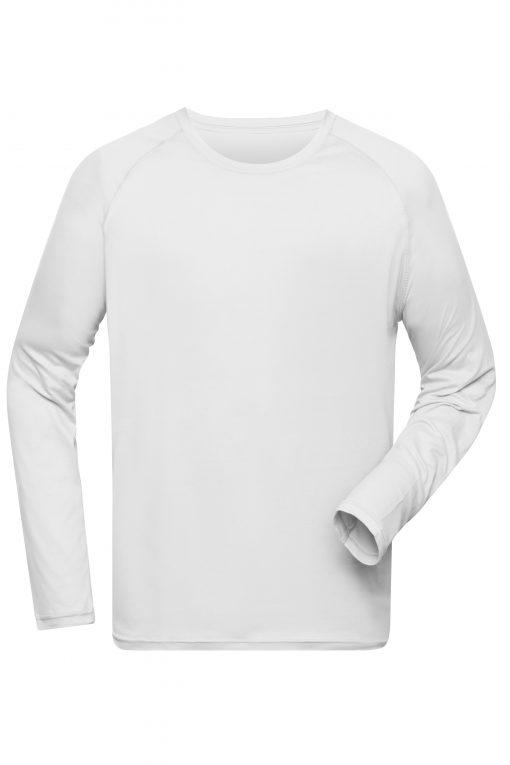 Мъжка спортна блуза с дълъг ръкав - цвят Бяло