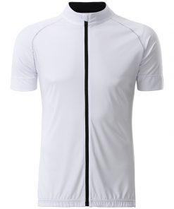 Мъжка тениска за колоездене с цип - цвят Бял/Черен
