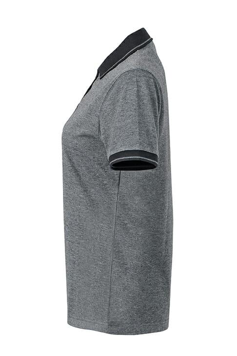 Дамска тениска с яка Melange Polo - цвят Черно-Меланж/Черно