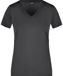 Дамска спортна тениска V-neck - цвят Черен