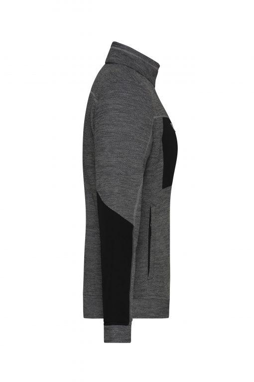 Дамско поларено яке - цвят Черно-Меланж/Черно/Сребро