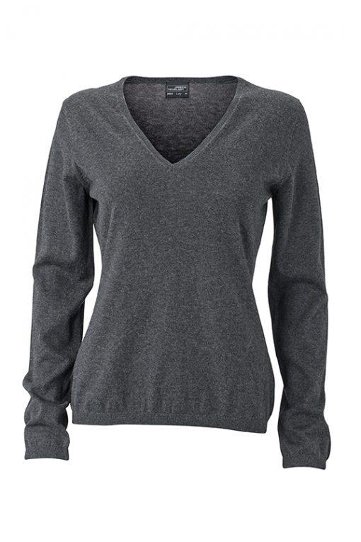 Дамски копринено-кашмирен пуловер - цвят Антрацит-Меланж