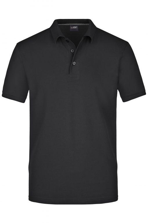 Мъжка тениска с яка Pima - цвят Черен