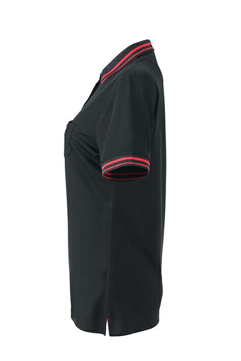 Дамска тениска с яка Active Polo - цвят Черно/Червено
