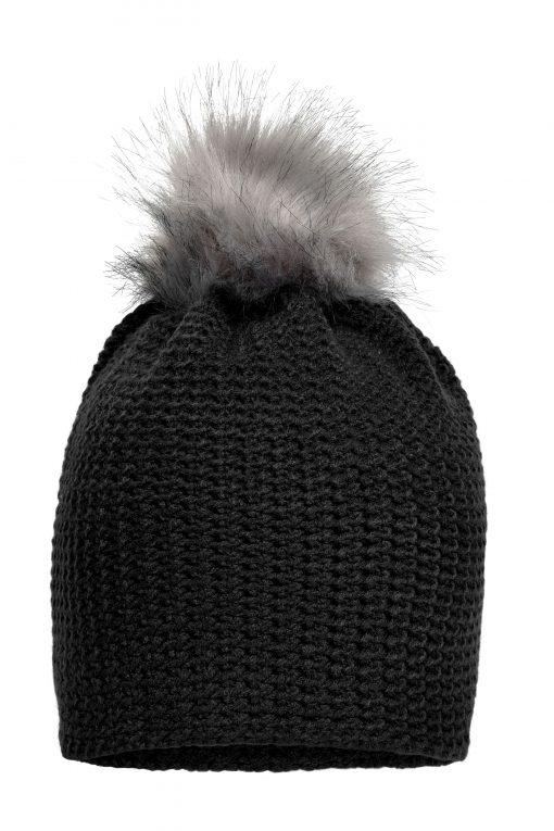 Плетена шапка с помпон - цвят Черно/Сребро