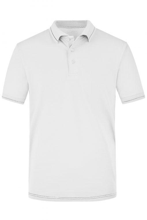 Мъжка тениска с яка - цвят Бял/Черен