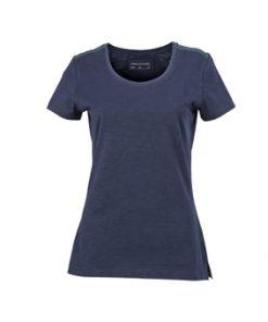 Дамска тениска Slub - цвят Морскосиньо