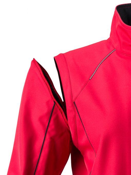 Дамско софтшел яке с цип ръкави - цвят Черно/Червено