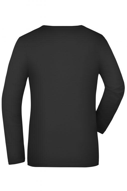 Дамска тениска с дълъг ръкав V-neck - цвят Черен