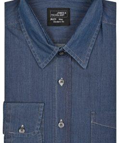 Мъжка дънкова риза - цвят Тъмно-Деним