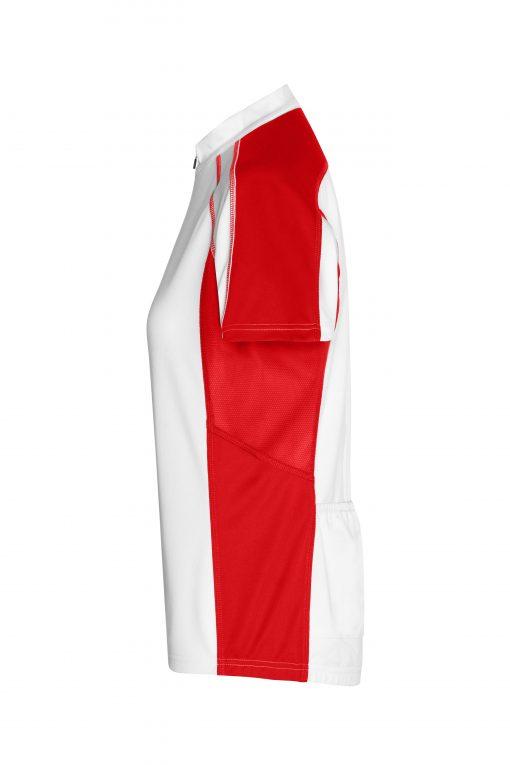 Дамска тениска за колоездене - цвят Бяло/Червено