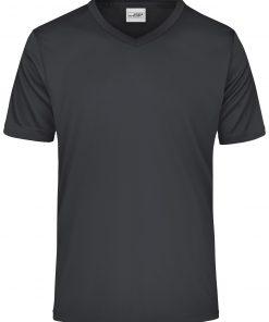 Мъжка спортна тениска V-neck - цвят Черен