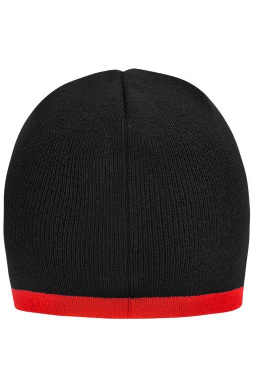 Шапка тип Beanie с контраст - цвят Черно/Червено