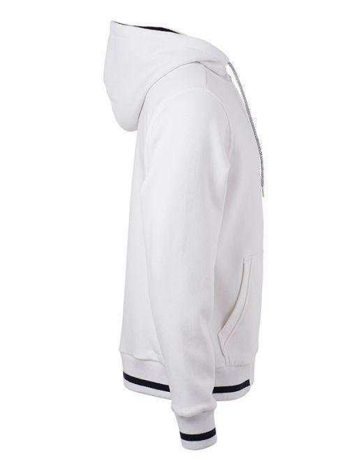 Мъжки суичър с качулка - цвят Бял/Морско Син