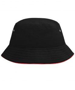 Детска шапка с периферия - цвят Черно/Червено