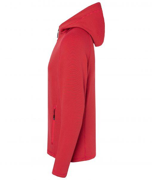 Мъжко поларено горнище с качулка - цвят Червен/Индиго