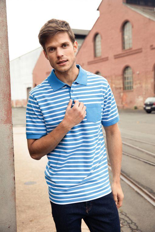 Мъжка тениска с къс ръкав - цвят Бял/Морско Син