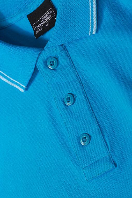 Мъжка тениска Elastic Polo - цвят Бял/Морско Син