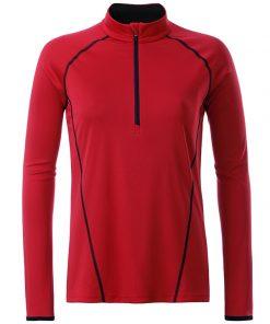 Дамска спортна блуза с дълъг ръкав - цвят Червено/Черно