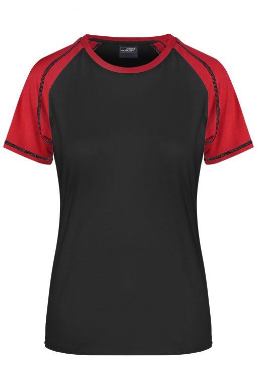 Дамска спортна тениска - цвят Черно/Червено