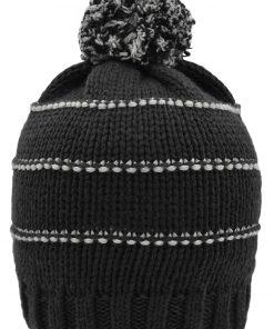 Зимна плетена шапка с Помпон - цвят Черно / Светлосиво
