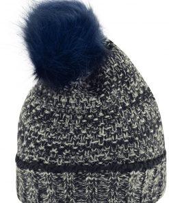 Дамска плетена шапка тип Beanie - цвят Морско Син/Бял