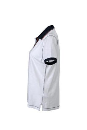 Дамска поло тениска Slub - цвят Бял/Морско Син