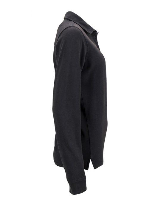 Дамско поло с износен вид - цвят Черно/Бяло-Титан