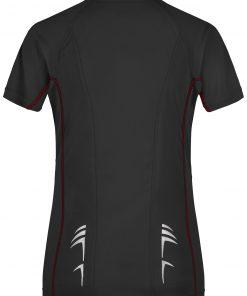 Дамска тениска за бягане - цвят Черно/Червено