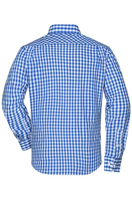 Карирана мъжка риза с дълъг ръкав - цвят Кралско/Бяло