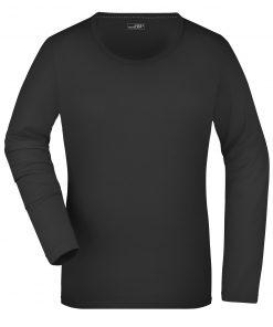 Дамска тениска с дълъг ръкав - цвят Черен