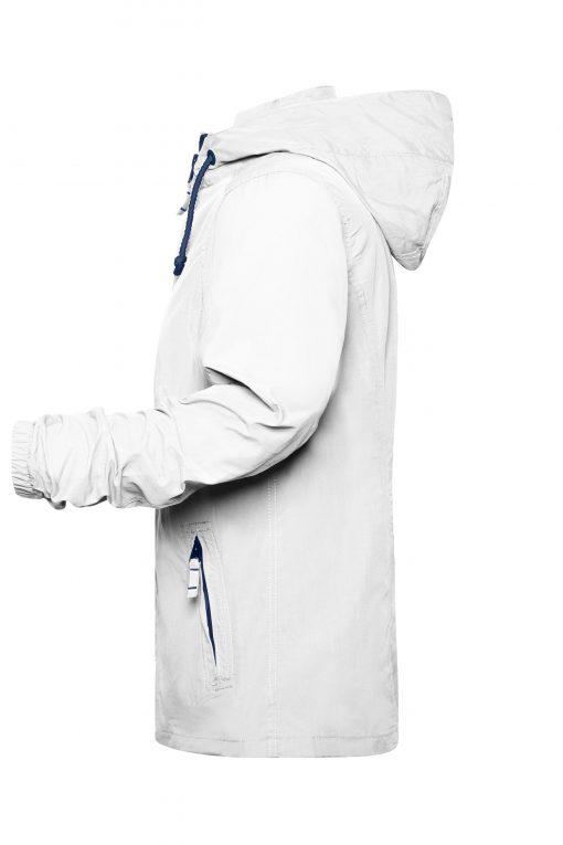 Дамско яке тип ветровка - цвят Бял/Морско Син