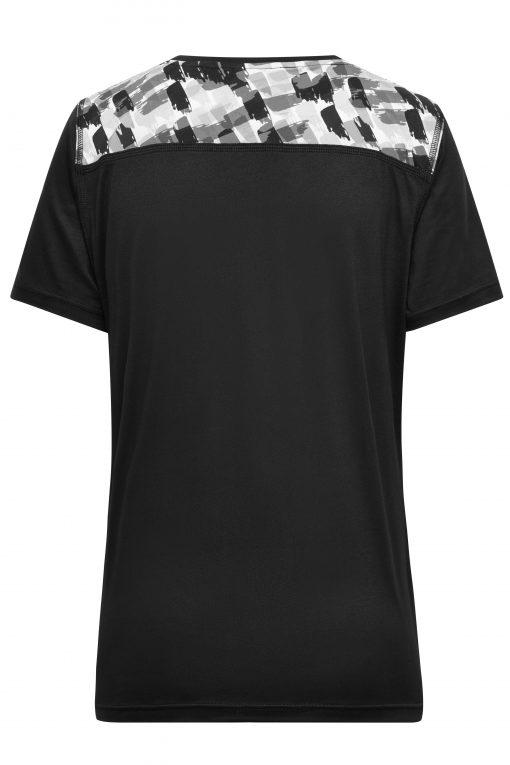 Дамска спортна тениска - цвят Черно/Черно-Отпечатано
