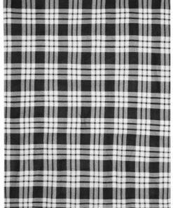 Карирано поларено одеяло - цвят Черно / Извън Бяло