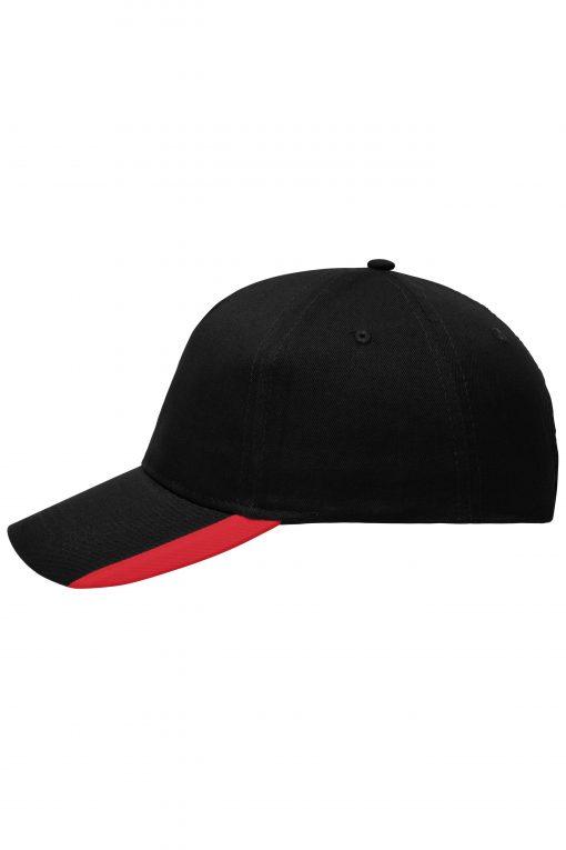 Шапка с козирка - цвят Черно/Червено