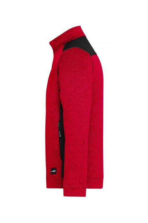Мъжки полар с цип - цвят Червен Меланж/Черен