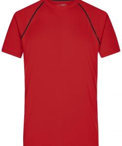 Мъжка тениска за фитнес - цвят Червено/Черно