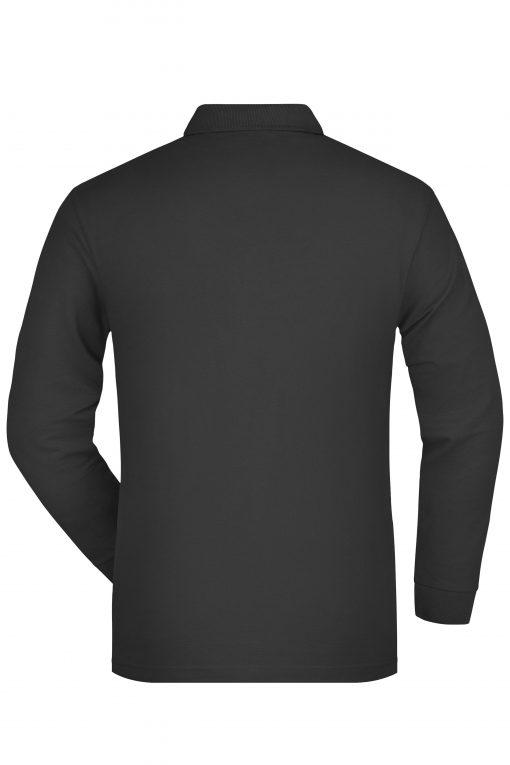 Мъжка блуза с дълъг ръкав и яка - цвят Черен