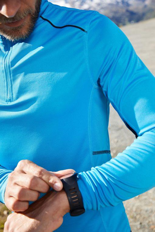 Мъжка блуза за бягане с дълъг ръкав - цвят Бял/Черен