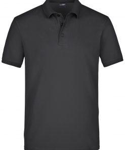 Мъжка еластична тениска с яка Pique - цвят Черен