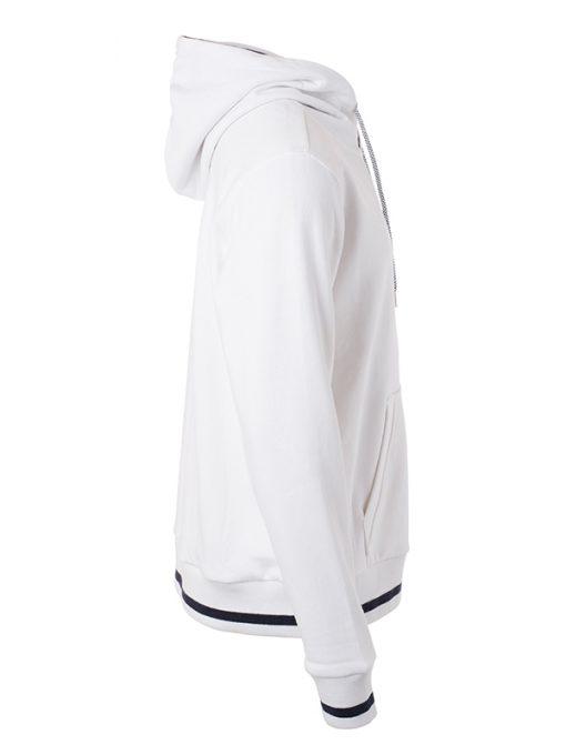 Мъжки суичър без цип - цвят Бял/Морско Син