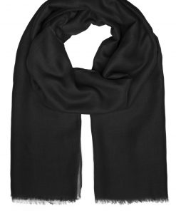 Летен шал с ресни  - цвят Черен