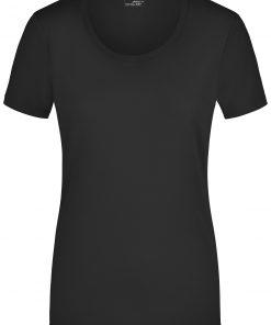 Дамска тениска с широко деколте - цвят Черен