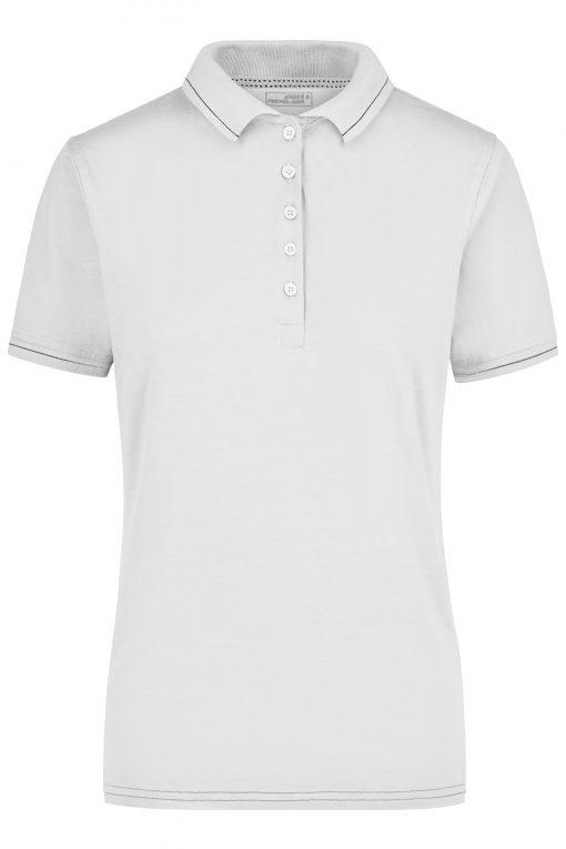 Дамска тениска с яка - цвят Бял/Черен
