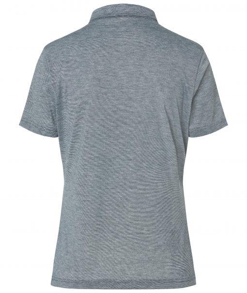 Дамска спортна тениска с яка - цвят Морско Син/Бял