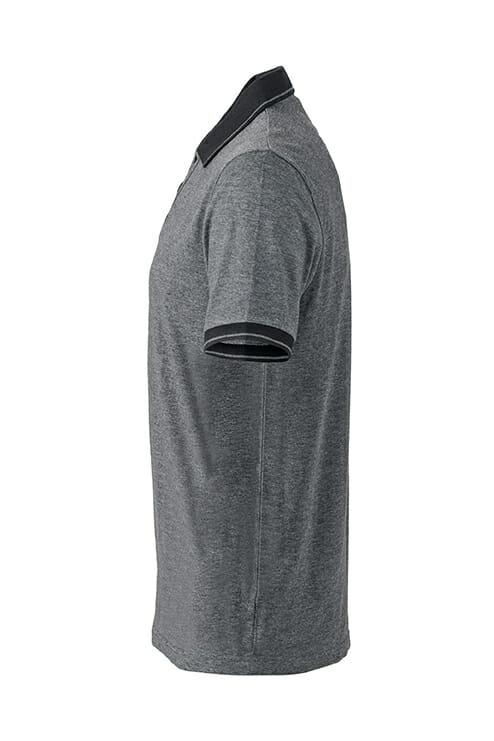 Мъжка тениска с яка Melange Polo  - цвят Черно-Меланж/Черно